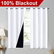 NICETOWN White 100% Blackout Lined Curtains, 2 Thick Layers Completely Blackout Window Treatment Thermal Insulated Drapes for Kitchen/Bedroom (1 Pair, 52  Width x 63  Length Each Panel)