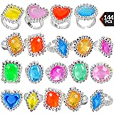 Plastic Rings - (144 Pieces) Bulk Plastic Rings for Bridal Shower, Pirates and Mermaids Treasure, Birthday Parties, Bachelorette, Goodie Bags and Prizes, Adjustable Jewel Sparkle Rhinestone Rings