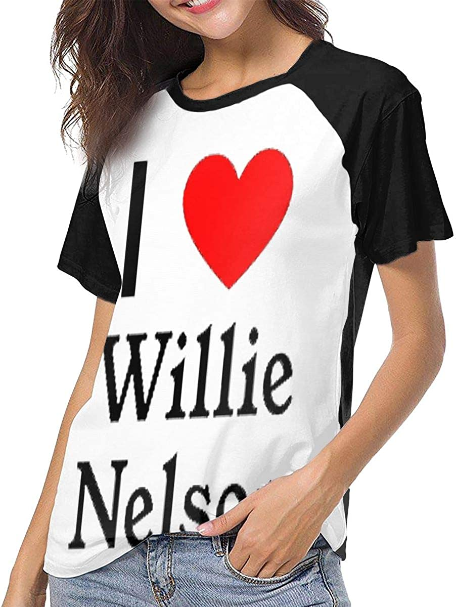 SheyAnsh Willie Nelson Stylish Women Raglan Short Sleeve Casual Print T-Shirts Baseball Blouses