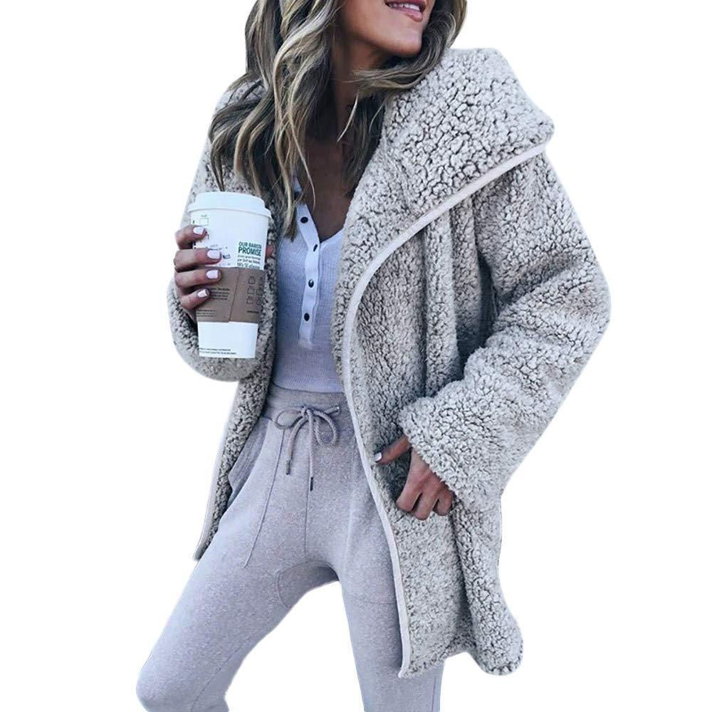 ZYUEER Manteau Femme Hiver Doudoune Femme Longue Duffle Coat Fourrure Jacket Leather, Sweatshirt Cardigan Fourrure Couleur Unie