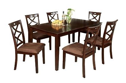 Amazon.com - Nix Dark Walnut Dining Table Set - Table ...
