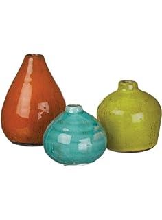 sullivans ceramic vase set various sizes aqua orange green set of
