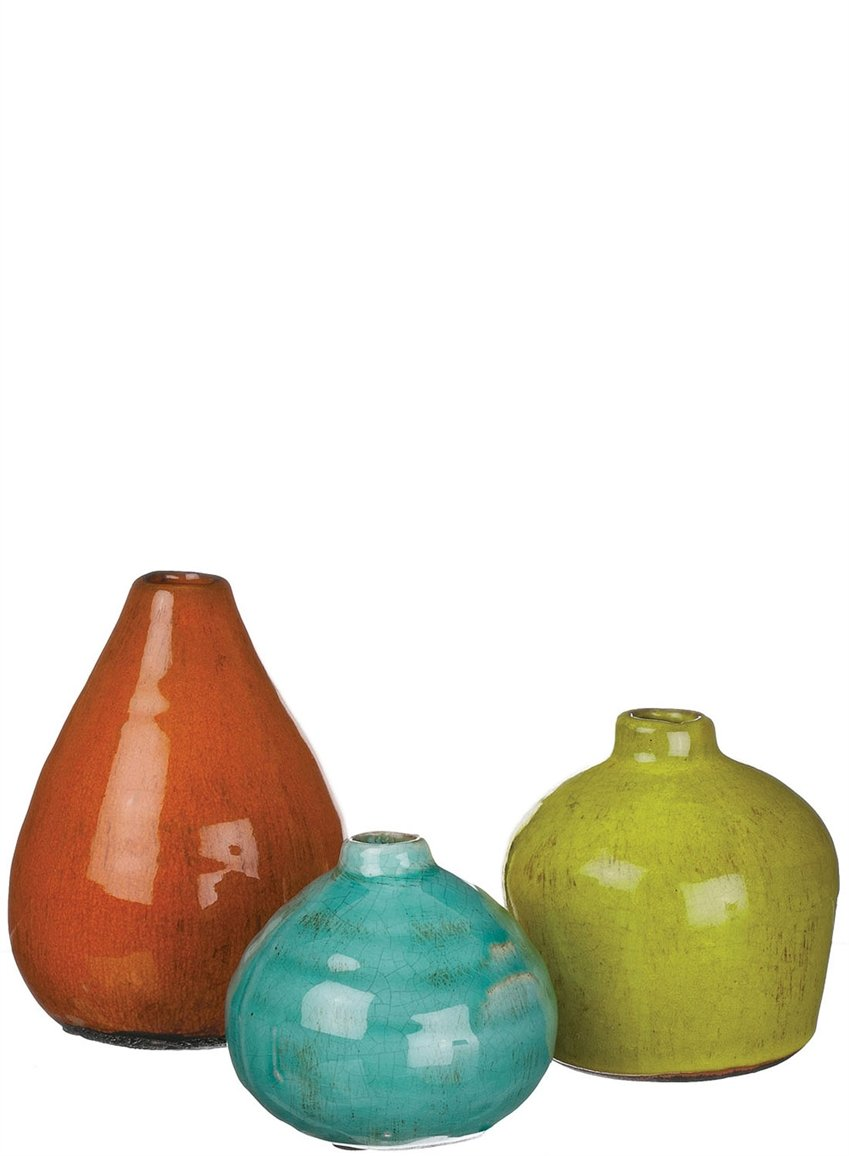 Sullivans Ceramic Vase Set, Various Sizes, Aqua, Orange, Green, Set of 3 (CM2219)