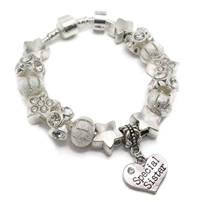 Truly Charming Purple Special SISTER Starter Charm Bracelet Pandora Style Gift Boxed 20cm mOiO8X