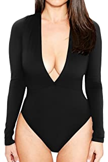 CHICE IRIS Womens Plunge V Neck Basic Long Sleeve One Piece Bodysuit  Jumpsuit 65b5aa376