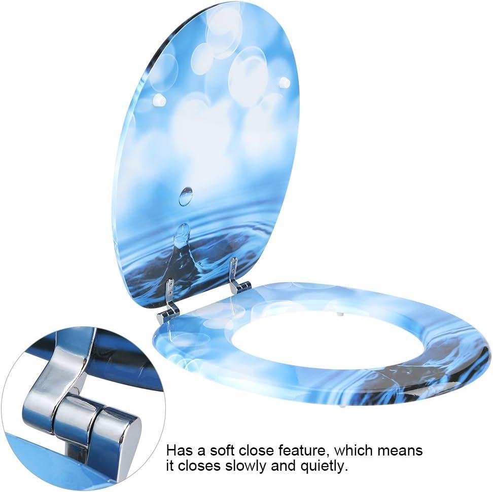 Rond Abattant de WC 3d Motif color/é Soft Close Abattant de WC en MDF avec charni/ères r/églables pour salle de bain D/écoration