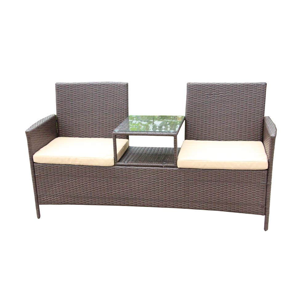 ALEKO RTF008BR Rattan Wicker Indoor Outdoor Dual-Seated Sofa with Coffee Table Brown