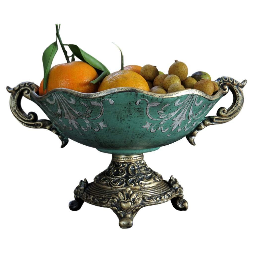 レトロ樹脂フルーツトレイフルーツバスケットプレートフルーツ皿フルーツラックキッチンリビングルームの装飾 (色 : 青)  青 B07NQ1NHZS