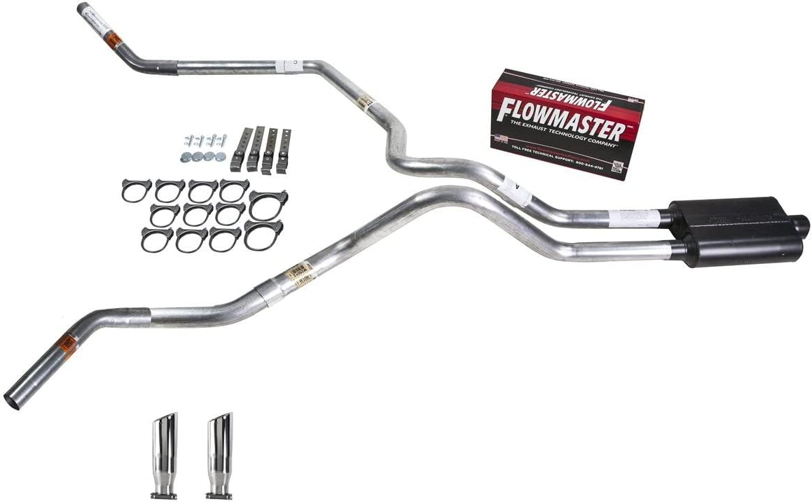 Truck Exhaust Kits DIY dual exhaust system 2.5 pipe Flowmaster Super 44 RC Tip Corner exit