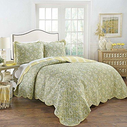 (WAVERLY Precious Paisley 3-Piece 100% Cotton Reversible Quilt Collection (Queen))
