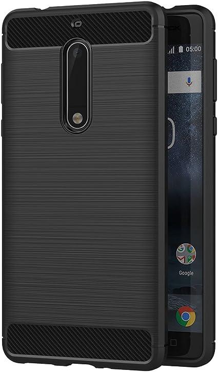 AICEK Funda Nokia 5, Negro Silicona Fundas para Nokia 5 Carcasa ...