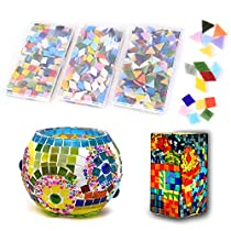 1050 Pieces Mosaic Tiles - Mixed Color Mosaic Glass Pieces with Organizing Container Perfect for Arts & Craft projects, Glass Candle Holder, Flowerpots, Photo Frames,Home Decor and Garden
