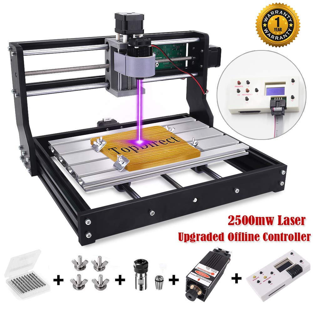 [Upgraded Version] 2500mw Laser Engraver CNC 3018 Pro Engraving Machine, GRBL Control 3 Axis Mini DIY CNC Router Kit with Offline Controller, Working Area 300x180x45mm, for Wood Plastic Acrylic PVC by TopDirect