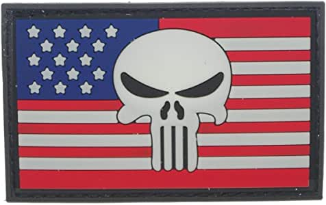Cobra Tactical Solutions Punisher Castigador Skull Badge Bandera de USA Parche PVC Táctico Moral Militar con Cinta adherente de Airsoft Paintball para Ropa de Mochila Táctica (Negro): Amazon.es: Hogar
