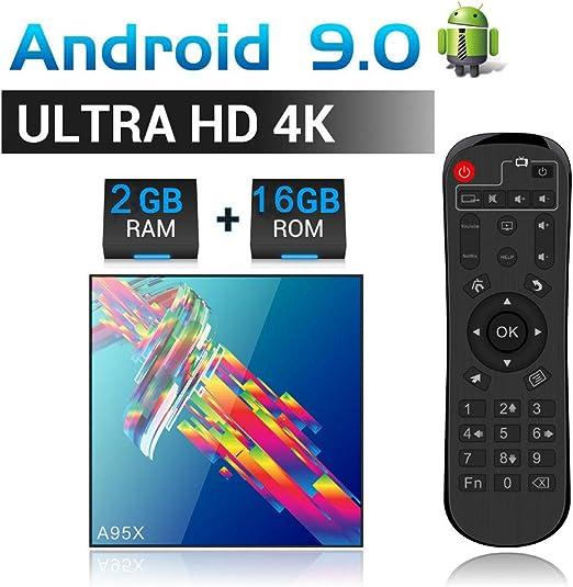 Android 9.0 TV Box con 4GB RAM 64GB ROM RK3318 Quad-Core Cortex-A53 2.4Ghz Smart TV Box Admite WiFi 4K 2K H.265 Salida 100M LAN Internet 3.0 Smart TV Box,2gb+16gb: Amazon.es: Hogar