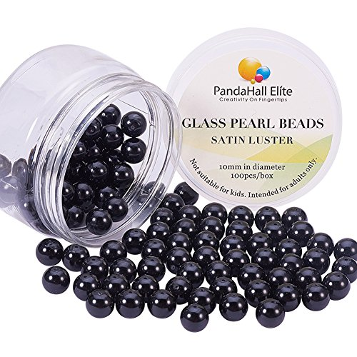 PandaHall Elite 10mm About 100Pcs Tiny Satin Luster Dyed Glass Pearl Round Beads Assortment Lot for Jewelry Making Round Box Kit Anti-flash Black
