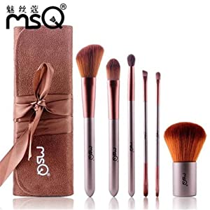 ShungHO MSQ Brand 6pcs Makeup Brushes Set, Coffee Makeup Brushes Cosmetic Tool Kits Set With Bag