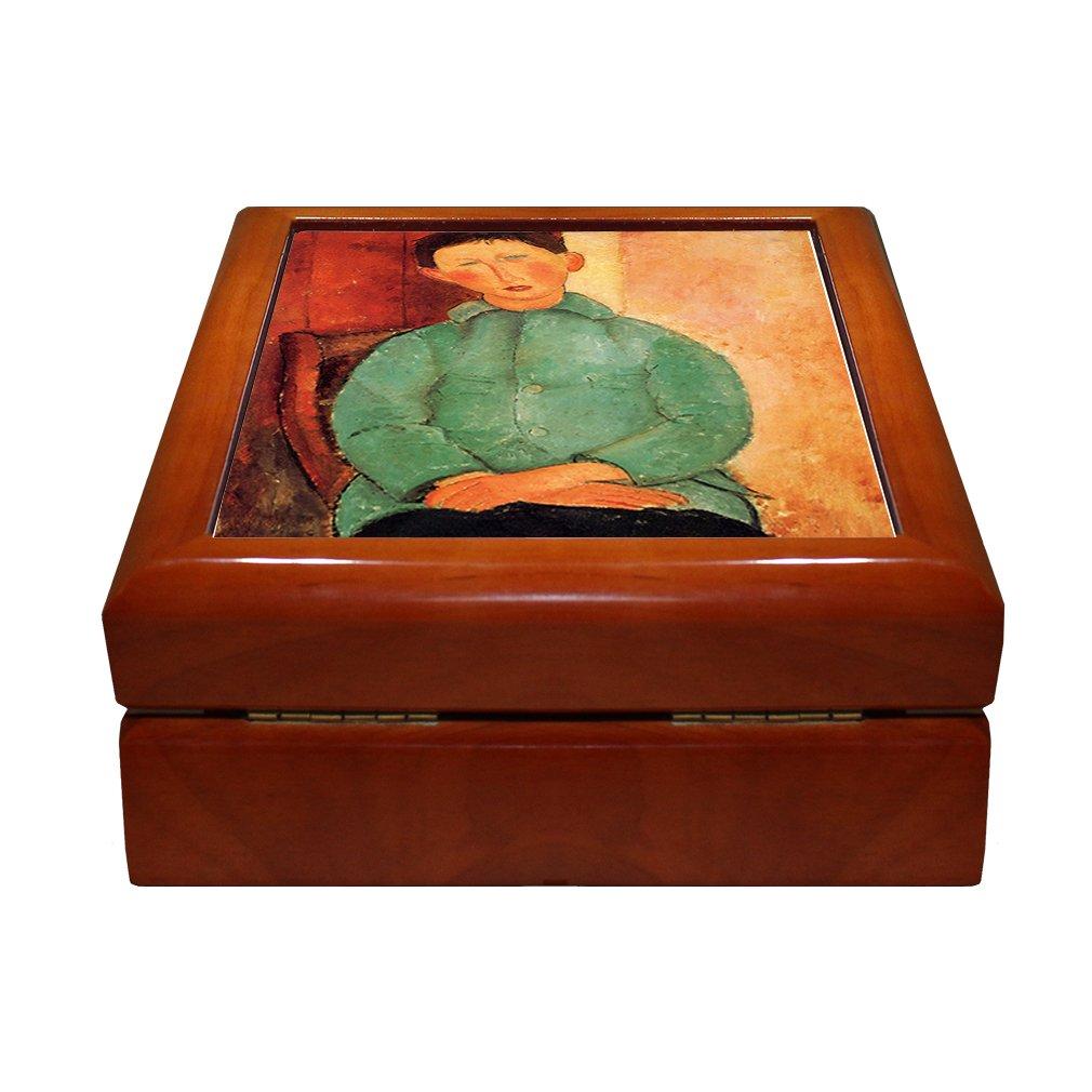 Style in Print Boy In A Blue Jacket #2 (Modigliani) 4''x4'' Jewelry Box Ceramic Tile Oak Frame