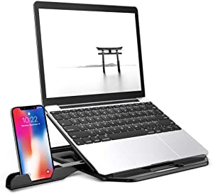 Laptop Stand, Foldable Portable and Ventilated Desktop Stand, Universal Lightweight and Ergonomic Adjustable Tray Stand, Compatible with laptops/Tablets (Black)