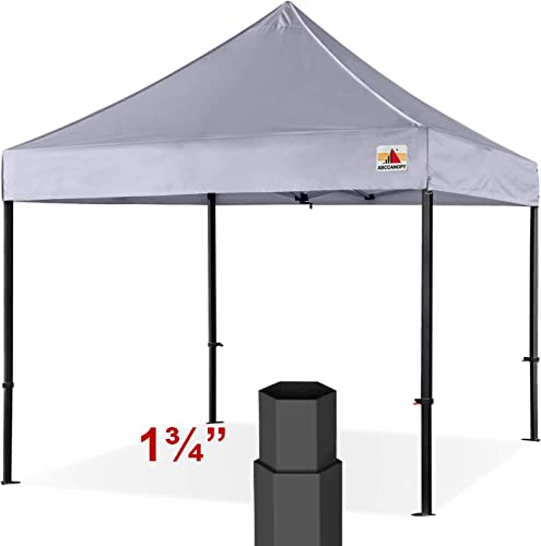 ABCCANOPY Professional 10 x10 Easy Pop-up Canopy Tent Commercial Instant Shelter with Wheeled Carry Bag, Bonus 4 Weight Bags Gray