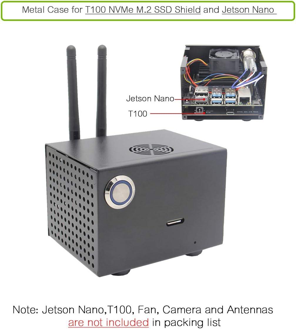Geekworm NVIDIA Jetson Nano T100 Metall Fall f/ür NVIDIA Jetson Nano Entwickler Kit und T100 NVMe M.2 SSD Schild
