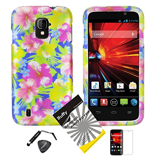 4 items Combo: ITUFFY (TM) LCD Screen Protector Film + Mini Stylus Pen + Case Opener + Blue Pink Yellow Green Hawaiian Hibiscus Flower Design Rubberized Snap on Hard Shell Cover Faceplate Skin Phone Case for ZTE Majesty / Z796c - StraightTalk (Aloha Flower)