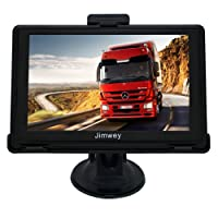 SAT NAV GPS Navigation System, Jimwey 5 Inch Wince 8GB 256MB Capacitive Touch Screen Car Truck Lorry Satellite Navigator Device with Post Code Search Speed Camera Alerts, Include Pre-installed UK and EU Latest 2018 Maps with Lifetime Free Updates
