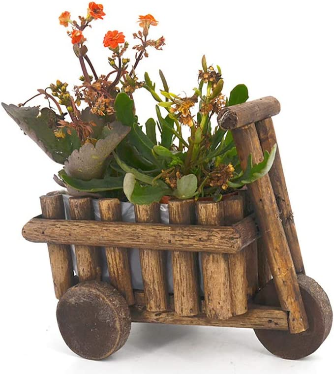 Wooden Succulent Planter Cute Potted Plant Holder Desktop Flower Pot Creative Office Decor Mini Wheel Barrow Planter for Indoor Windowsill Countertop