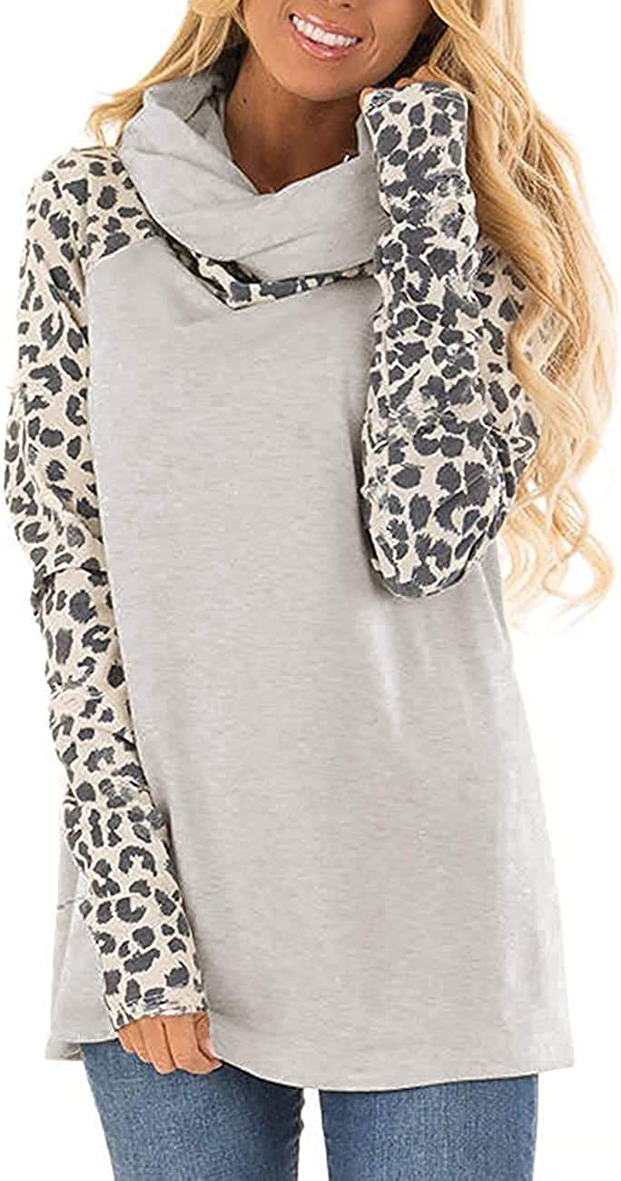 LAMISSCHE Womens Color Block Tunic Tops Long Sleeve Leopard Print Shirts Cowl Neck Casual Loose Tee Blouse