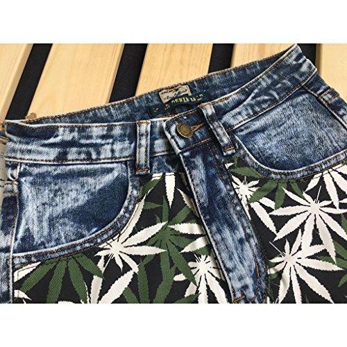 Pennello Pastello Byjia Jeans Denim Di Delle Vita Neve Elegante Pantaloncini Decorato I Di Il Fresco Lavato Blue Svago Pantaloni Fiocchi Allungano Donne n8nYUg