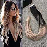 Full Shine 20 inch Ombre Balayage Tape in Hair Extensions Human Hair Remy Colored Extensions #1B Fading to #18 Ash Blonde Glue in Extensions 20 Pcs 50gram Per Package