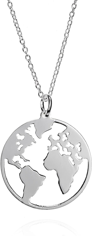 EMPATHY JEWELS Collar Mundo de Plata de Ley con Cadena de Plata 42 cm- Gargantillas Mujer con Colgante de Plata Mapa Mundi - Collar Mujer Plata Globo Terraqueo para Regalos Originales Mujer - Regalos