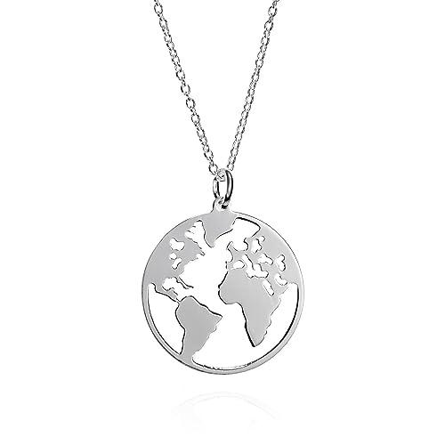 931c49591782 Collar Mundo de Plata de Ley con Cadena de 42 cm. Collar Plata Globo  Terraqueo para Regalos Mujer.  Amazon.es  Joyería