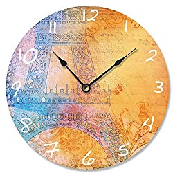 Stupell Home Décor Bright Paris Eiffel Tower Vanity Clock, 12 x 0.4 x 12, Proudly Made in USA