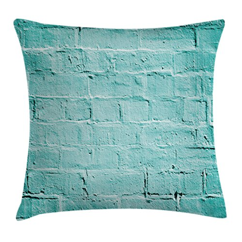 Mint Throw Pillow Cushion Cover by Ambesonne, Brick Old Wall Background in Vibrant Tones Architecture Urban Building Artsy Picture, Decorative Square Accent Pillow Case, 18 X 18 Inches, Turquoise