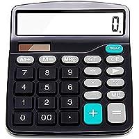 Taschenrechner, Standard Taschenrechner, Sonnenenergie und Batterie betrieb, 12-stelligem, Großes LCD-Display, Großer Knopf, Desktop Rechenmaschine, Schwarz