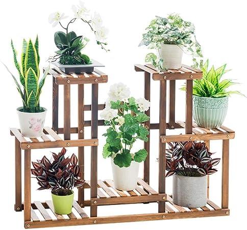 Huahua Furniture Escalera para Flores, Estante de Madera para Almacenamiento de macetas de exhibición de Flores con Soporte de Planta de Suelo de 4 gradas para jardín Interior al Aire Libre: Amazon.es: