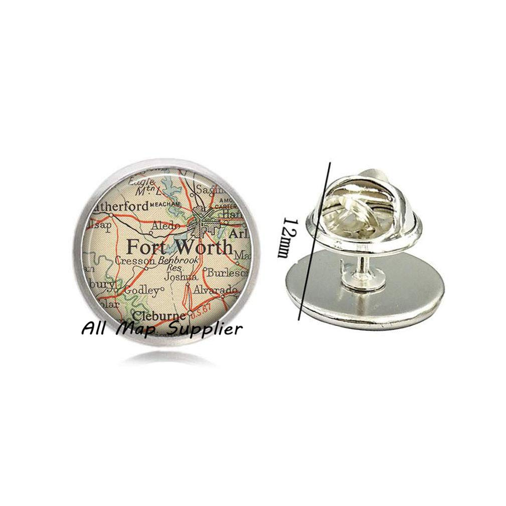 56a2f2cce7 Amazon.com: AllMapsupplier Charming Brooch Ft.Worth,Texas map Pin,Ft ...