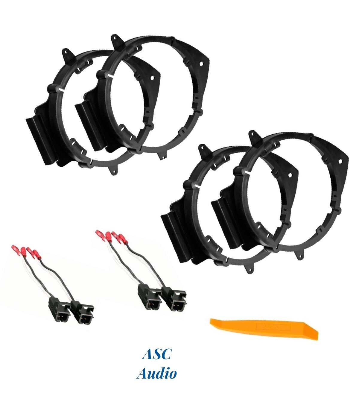 ASC 2 Pair 6+-Inch 6'' 6.5'' 6.75'' Car Speaker Install Adapter Mount Bracket Plates w'Speaker Wire Connectors for Select GM GMC/Pontiac/Chevrolet Vehicles- see below for compatible vehicles
