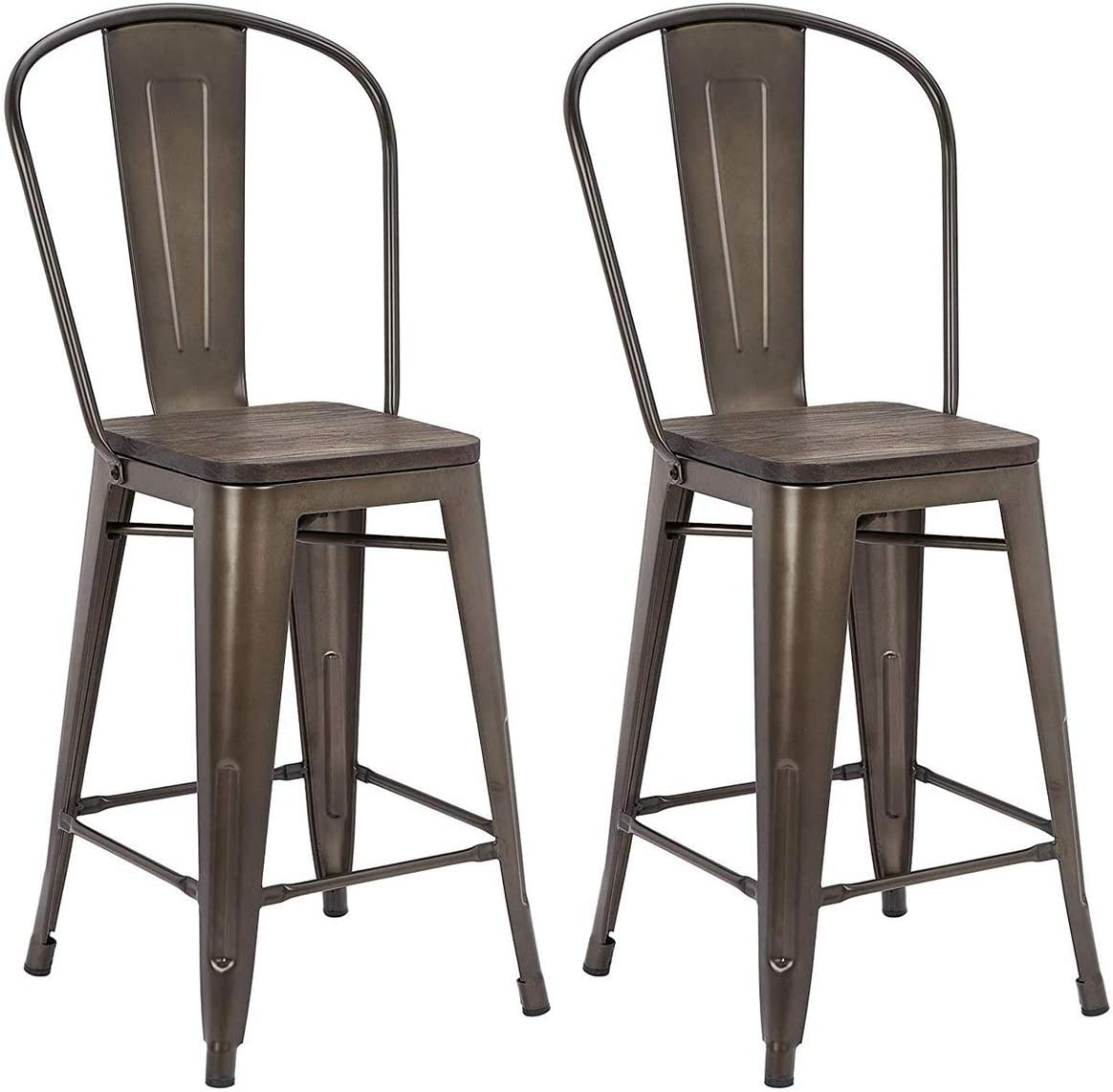MELLCOM 24 Inch Bar Stools with Bucket Back,Indoor Outdoor Counter Height Stool,Metal Bar Chairs-Set of 2