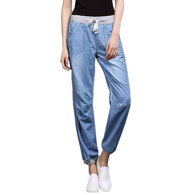 Petalum - Pantalones Vaqueros para Mujer de Cintura Alta ...