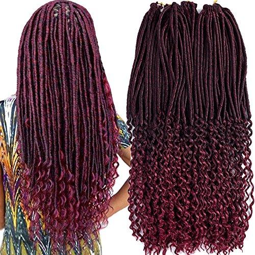 Price comparison product image VRHOT 6Packs 20'' Faux Locs Crochet Hair Braids Curly Ends Burgundy Goddess Locs Crochet Hair Extensions Synthetic Kanekalon Braiding Hair Twist Mix 1B Burgundy 20 Inch (20'' (6 Packs), T1B/BUG)