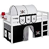 Lit surélevé ludique JELLE 90x190 pirate noir - lit mezzanine LILOKIDS - blanc laqué - avec rideau