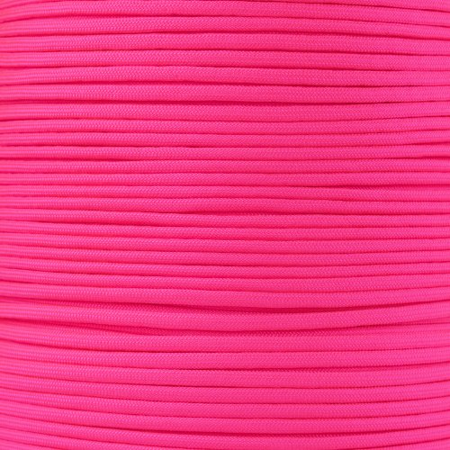 - PARACORD PLANET 10 20 25 50 100 Foot Hanks and 250 1000 Foot Spools of Parachute 550 Cord Type III 7 Strand Paracord (Neon Pink 1000 Foot Spool)