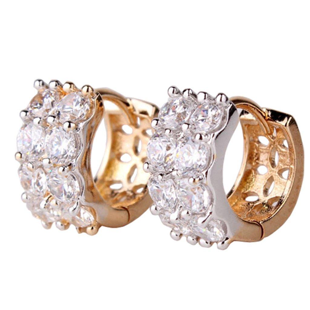 GULICX Gold Plated Base White Rhinestone CZ Eternity Women Girl Party Hoop Earrring Gelei Jewelry Co. Ltd. E115c