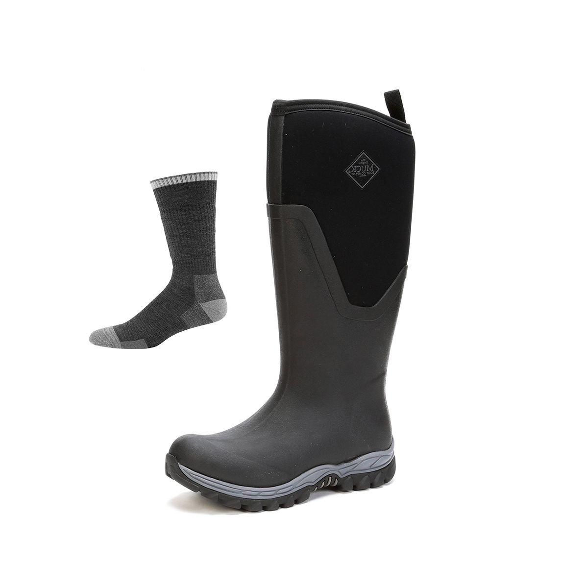 Muck Boot Women's Arctic Sport Ii Tall Snow Boot B0763XVDNY 8 B(M) US|Black/Black W/ Socks