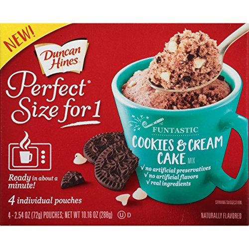 Duncan Hines Perfect Size for 1 Mug Cake Mix, Ready in About a Minute, Cookies & Cream Cake, 4 individual pouches Duncan Hines Cookie Mix