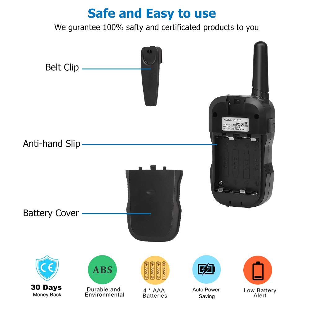 OUNUO Kids Walkie Talkies, 4 Miles Range Walkie Talkies for Kids 22 Channels 10 Customized Ringtones with Flashlight for Outdoors Good Parenting Toys - 1 Pair by OUNUO (Image #8)