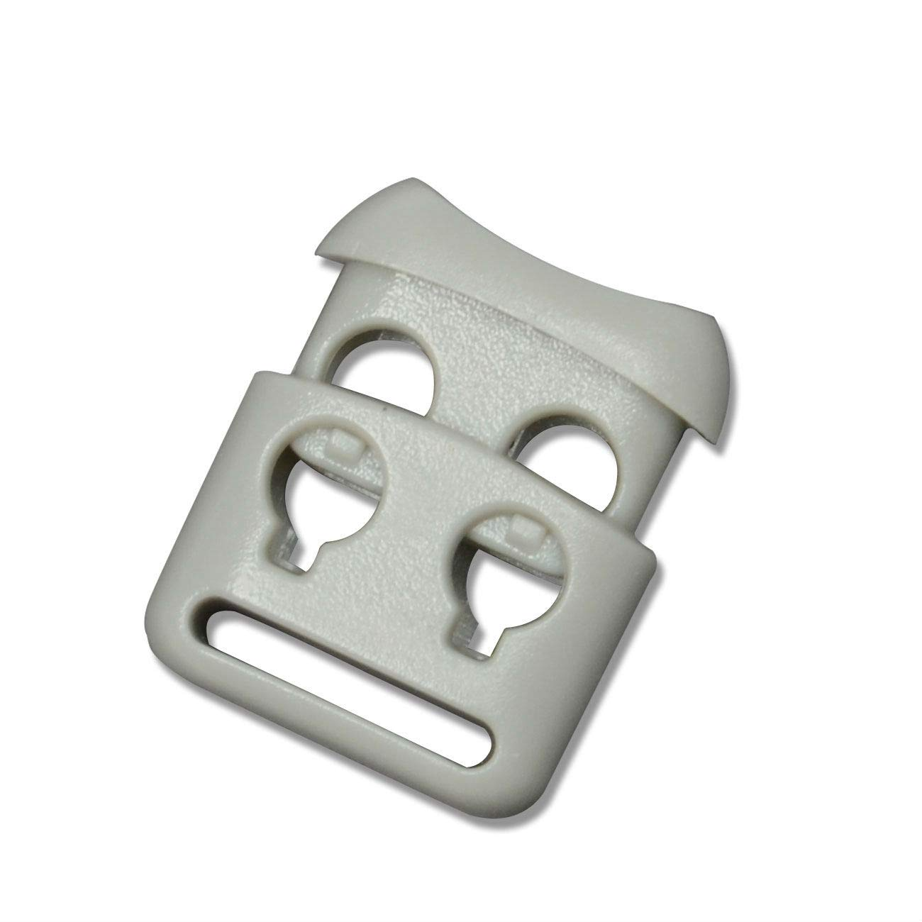 Double Hole Plastic Cord Locks End Spring Stop Toggle Stoppers Multi-Colour 20 PCS, Khaki