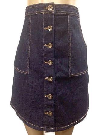 4949ee1985 G.H Bass CO. Dark Indigo Wash Denim Skirt Size 14 at Amazon Women's ...